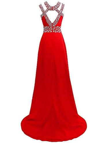 Festkleider Chiffon Ballkleider Lang Hochzeitskleid Abendkleider Blau A Damen Linie x7tXSwBq7