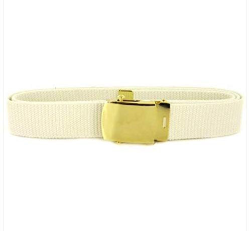 VANGUARD Navy Belt and Buckle Male White Cotton with Brass Buckle and TIP