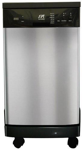Sunpentown SD-9241SS 18'' Portable Dishwasher with Time Delay Feature Error Alarm Rinse Aid Warning Indicator Quiet 55 dBA Stainless Steel Interior 6 Wash Programs in Stainless by Sunpentown
