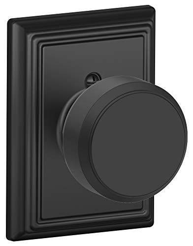 Schlage F170-BWE-ADD Bowery Single Dummy Door Knob from the F-Series with Decora, Matte Black