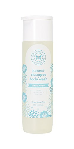 Honest Purely Simple Hypoallergenic Shampoo and Body Wash for Sensitive Skin, Fragrance Free, 10 Fluid Ounce