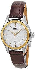 Oris Artelier Date Silver Dial Brown Leather Women's Watch