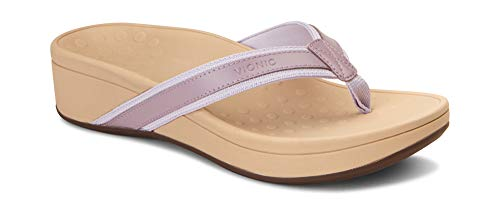 Vionic Women's Pacific High Tide Toepost Sandals - Ladies Platform Flip Flops with Orthotic Arch Support Mauve 10 M US