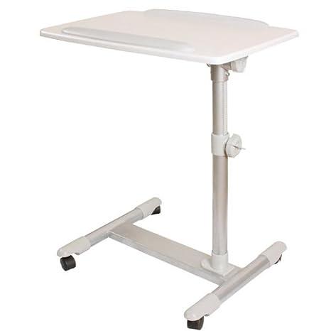 SoBuy® Mesa Auxiliar con Ruedas, mesas de Centro, mesas para portatiles, mesitas de Noche, FBT07N2-W(Blanco/ L60*P40*A56-87cm),ES: Amazon.es: Hogar