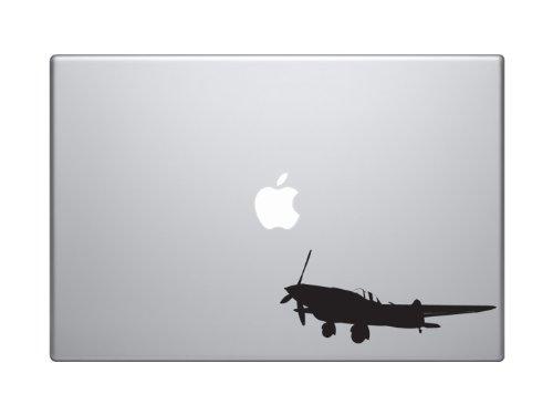 "Price comparison product image World War Two #1 - Propeller Airplane Fighter Spitfire - 5"" Black Vinyl Decal Sticker Car Macbook Laptop"