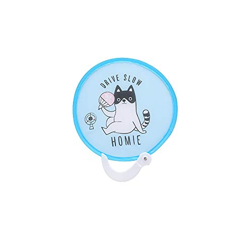 Akabsh_fans Portable Round Folding Cloth Pocket Fan,Small Cartoon Pattern Travel Holiday Souvenir ()