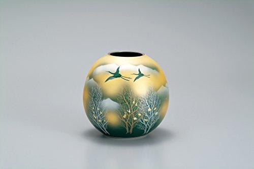 Kutani Japanese Drawn Ceramic Porcelain Ware. Japanese Ikebana Flower vase. Gold Crowd renzan. Japanese Ceramic Hagiyakiya 1036