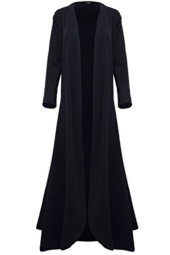 Women Ladies Floaty Flowy Cardi Open Flare Long Trench Jacket Coat Maxi Cardigan Black