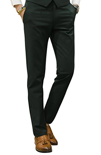 MOGU Mens Slim Fit Front Flat Casual Pants US Size 31 Dark Green