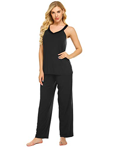 Ekouaer Pajama Set Sleeveless Sleepwear Womens Soft Nightwear Tank Tops with Shorts Pjs Sets S-XXL Black