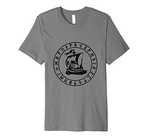 Viking Black Dragon Ship -  Odin Norse Heritage Premium T-Shirt