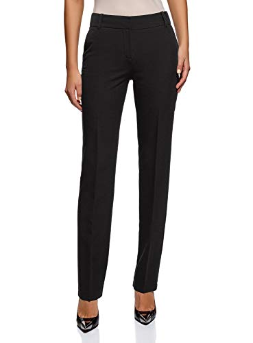 - oodji Collection Women's Classic Straight Leg Trousers, Black, 10