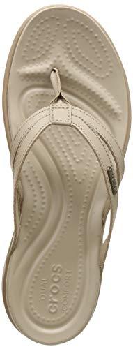 Crocs Women's Capri Basic Strappy Flip Flop, Tumbleweed/Cobblestone, 7 M US