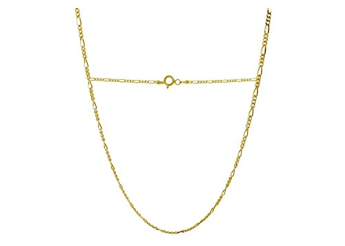 10k Figaro Anklet - 10K Yellow Gold 2.3mm Figaro 3+1 Link Chain Necklace -Multiple lengths And Colors-Made In Italy (Yellow, 24)