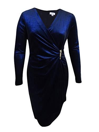 Klein Calvin Des Femmes De Robe De Cocktail Chatoyant De Velours Bleu Foncé