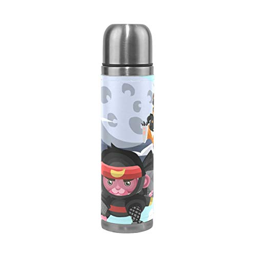 Coffee Thermos Animals In Different Costumes Cycling Vacuum Insulated Mens Thermos Flask Stainless Steel Water Bottles + Drink Cup Top + Leather Cover Fits Backpack Lunchbox 17oz / 500ml
