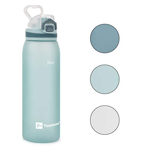 Teentumn Time Marker Water Bottle Gym, 30oz Large Durable Bottle for Workout Sport Travel Water Tracker