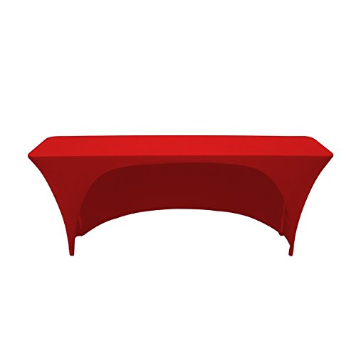 Your Chair Covers Spandex 6 Ft x 18 Inches,Narrow Classroom Open Back Rectangular Stretch Tablecloth - Red