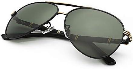 CDKET ビッグボックスミリタリースタイルクラシックアビエイターサングラス、メンズ高精細偏光メガネドライバー運転用メガネ、UVプロテクション、ダークグリーン(ブラックゴールドフレーム) CDKET