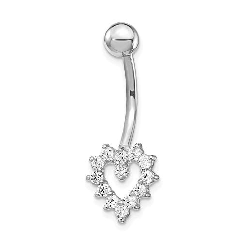 10k White Gold Cubic Zirconia Cz Heart Belly Button Rings Screw Navel Bars Body Piercing Naval Fine Jewelry Gifts For Women For Her ()