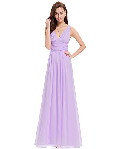 Ever-Pretty Womens Semi Formal V Neck Sleeveless Wedding Guest Dress 12 US Lavender