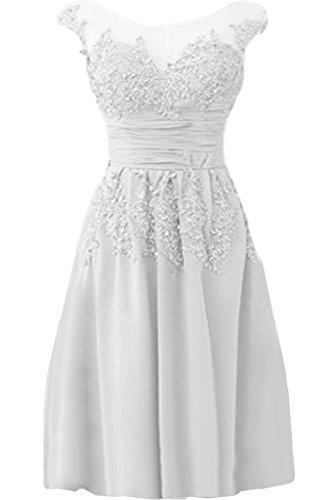 Abendkleid Kurz Linie Ivydressing Damen Chiffon Spitze lang Elegant Weiss Festkleid amp;Tuell A Promkleid Applikation Rundkragen w7xCTFqfx