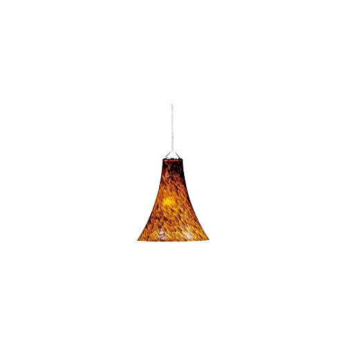 ET2 Lighting EP96023-104SN Mini Pendant with Amber Leopard Glass Shade, Satin Nickel Finish