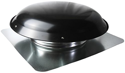 Ventamatic VX25 BLKUPS Static Galvanized Steel Dome & Flange Roof Vent, Black,