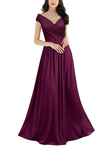 Miusol Women's Deep- V Neck Sleeveless Vintage Wedding Party Maxi Dress (Medium, A-Magenta)