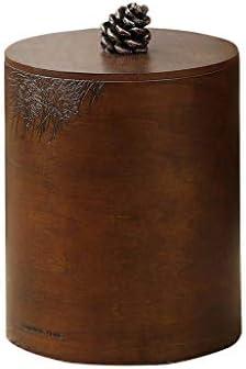 滑らかな表面 木製ごみ箱、ラウンドレトロオフィスキッチンのゴミ箱家庭用デスクトップ雑貨ストレージバケツのゴミ箱ふたストレージユニットビンに リサイクル可能なデザイン (Size : 19.5*24.8CM)