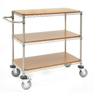 HUBERT 3 Tier Cart Soft Silver 24L x 18W x 34H