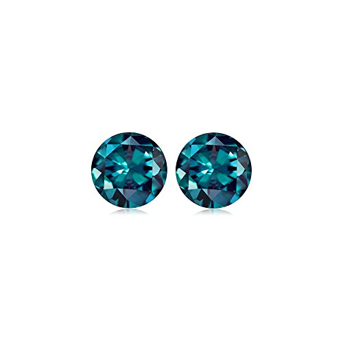 Mysticdrop 1.15-1.71 Cts of 5 mm AAA Round (2 pcs) Loose Russian Lab Created Alexandrite Gemstone