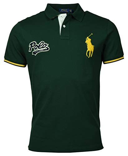 Polo Ralph Lauren Mens Custom Slim Fit Big Pony Polo Shirt (M, Green)