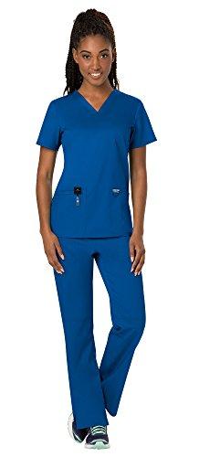 Cherokee Workwear Revolution Women's Medical Uniforms Scrubs Set Bundle - WW620 V-Neck Scrub Top & WW110 Elastic Waist Scrub Pants & MS Badge Reel (Royal - Large/Medium Petite) ()