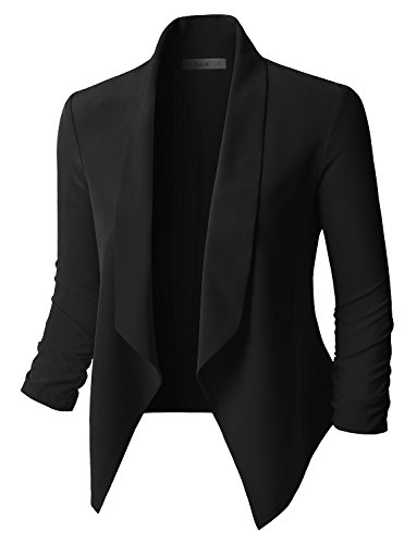 [RubyK Womens Lightweight Open Front Draped Tuxedo Blazer Jacket Black Size S] (Ladies Tuxedo)