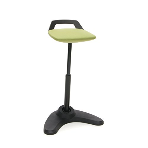 (OFM VIVO Adjustable Height Bar Stool - Contemporary Perch Stool Chair, Green with Black Trim (2800-BLK-GRN))