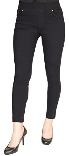 Access Women's 7/8 Cropped Pull-On Stretch Skinny Jegging Black (Ankle Cropped)