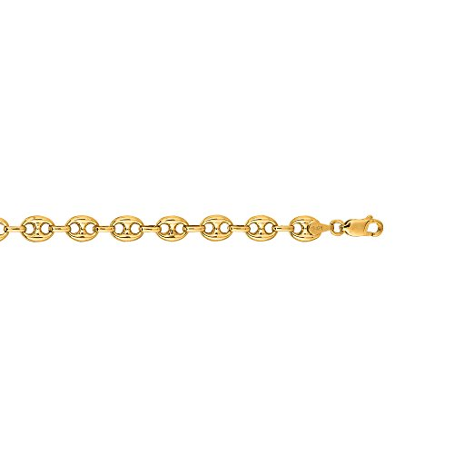 - IcedTime 14K Yellow Gold 7mm Diamond Cut Puffed Mariner Link Chain 7