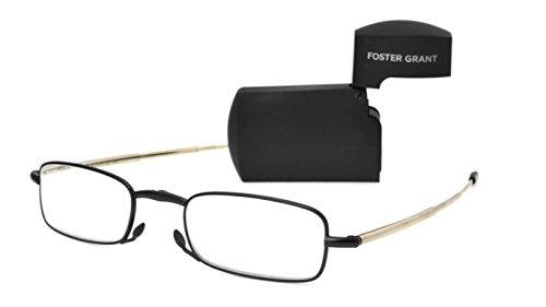 Foster Grant Men's Gideon Black 1017238-200.COM Rectangular Readers, Black, - Up Glasses Fold