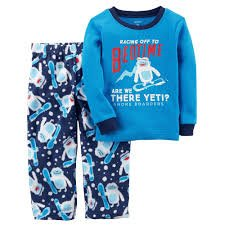 Carter's Boys' 12M-14 2 Piece Racing to Bedtime Yeti Fleece Pajamas 2T ()