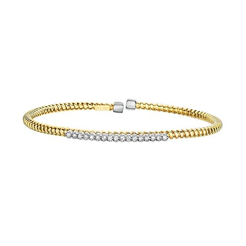 (14k Yellow White Gold 3mm 0.17ct 1 Pointer Faceted Diamond Bar Wire Flexible Cuff Bangle Bracelet)