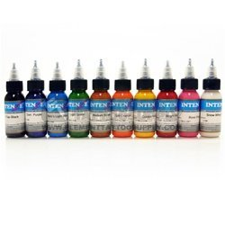 Intenze Monster Steel 10 Color Tattoo Ink Set 1oz ()
