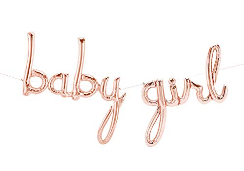 CY Mylar Baby Girl Balloons Rose Gold Foil Banner Balloon Baby Shower Decoration Party -