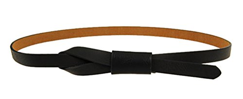 SportsWell Fashion Women Adjustable Faux Leather Skinny Belt Decorative Black