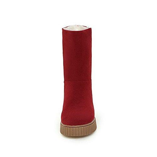 AllhqFashion Damen Mittler Absatz Rein Ziehen auf Blend-Materialien Rund Zehe Stiefel Rot