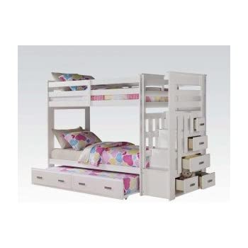 Amazon Com Twin Twin Captains Bunk Bed With Trundle And