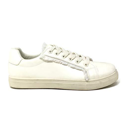 Scarpe 7 Piatto Donna Cm Sfilacciato Angkorly Bianco Frange Tacco Moda Tennis Sneaker dRWwgqz