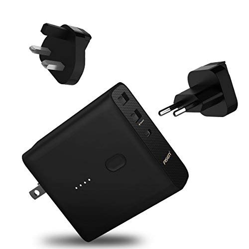 PISEN 2-in-1 Portable Charger - External Battery Pack with Foldable Worldwide Adapter UK EU US - 5000mAh Power Bank Type C for iPhone, iPad, Android, Tablets, Samsung Galaxy and More (Black)