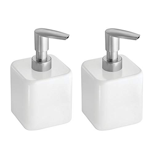 mDesign Compact Square Metal Refillable Liquid Soap Dispenser Pump Bottle for Bathroom Vanity Countertop, Kitchen Sink - Holds Hand and Dish Soap, Hand Sanitizer, Essential Oil - 2 Pack - White/Satin