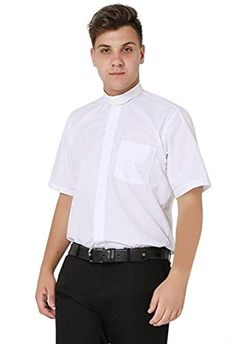 (Ivyrobes Mens Tab-Collar Short Sleeves Clergy Shirt White Medium (Necksize 15.5
